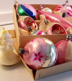 10 pink vintage glass Christmas ornaments, made in Poland