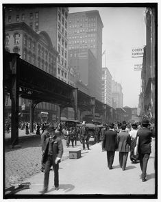 16 x 20 Gallery Wrapped Frame Art Canvas Print of Wabash Ave Avenue Chicago Ill 1907 Detriot Publishing co. 30a