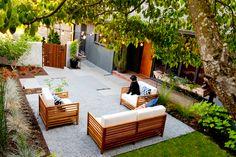Outdoor Wood Furniture, Outdoor Flooring, Landscape Plans, Landscape Design, Garden Design, Outdoor Spaces, Outdoor Living, Outdoor Decor, Bluestone Paving