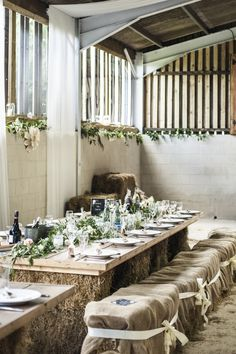 Barn Decor Hessian Flowers Rustic Hay Bale Table Chilled Country Boho White Green Wedding http://eleanorjaneweddings.co.uk/