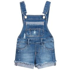 dca9b4fae Girls blue cotton denim dungarees by Mayoral. They have adjustable shoulder  straps with metal clip