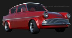 Red Ford Anglia 105E