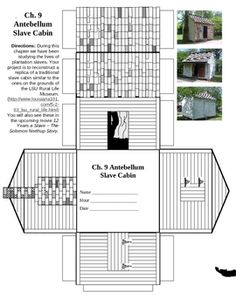 During this chapter we have been studying the lives of plantation slaves. Your project is to reconstruct a replica of a traditional slave cabin sim...