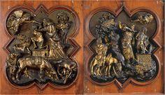 Lorenzo Ghiberti e Filippo Brunelleschi Sacrificio di Isacco 1402 Firenze, Museo Nazionale del Bargello Nel 1401 a Firenze viene indetto un concorso per la porta nord del Battistero, concorso al quale parteciparono sia Ghiberti sia Brunelleschi. Vinse Ghiberti. Con questo concorso inizia il rinascimento.