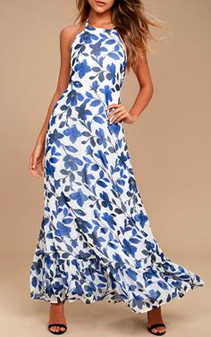 Meadow Meandering Blue and White Floral Print Halter Maxi Dress @bestmaxidress