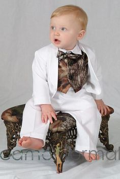 "Baby Boy Tuxedo White with Camo Accessories  ""WYATT"" would be even more adorable than he already is on this!!"
