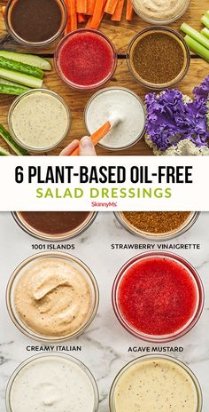 If you're interested in trying out a whole food, plant-based diet, start with these 6 plant based oil-free salad dressing recipes. Plant Based Diet Meals, Plant Based Whole Foods, Plant Based Eating, Plant Based Recipes, Oil Free Salad Dressing, Salad Dressing Recipes, Salad Dressings, Vegan Dressings, Creamy Salad Dressing