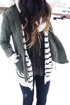 Casual winter layers, khaki jacket