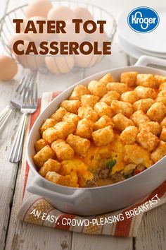 Sausage and veggies in a creamy sauce, topped with eggs, cheese and a crispy layer of tater tots – breakfast is served. Tater Tots, Tater Tot Casserole, Casserole Dishes, Casserole Recipes, New Recipes, Dinner Recipes, Cooking Recipes, Favorite Recipes, Recipies