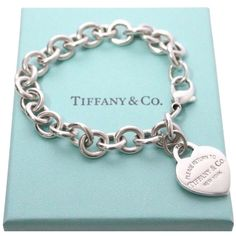 Pre-owned Return To Tiffany Large Heart Charm Sterling Silver Bracelet ($205) ❤ liked on Polyvore featuring jewelry, bracelets, accessories, silver, charm jewelry, tiffany co jewelry, sterling silver heart charm, sterling silver heart jewelry and sterling silver jewellery