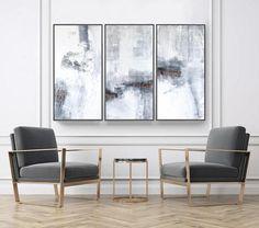 Abstract Art, Set of 3 Prints,  Wall Art Prints, Minimalist Art Abstract Painting, Scandinavian Prints, gray ang copper, large set of 3