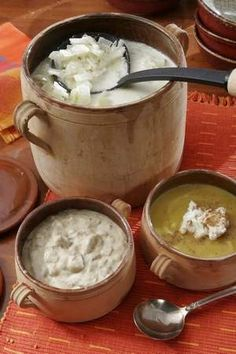 In the back is Shaker VIllage's cream of cabbage soup, left is Rafferty's potato soup, and right is Butterfly Gardens' butternut squash soup