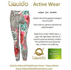 Liquido Activewear. Sassy Bette Patterned Hot Pants. unique. fun. durable. one-of-a-kind. limited edition prints. http://www.naturalhealthcarestore.com/