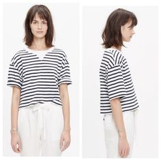 Madewell Sun-Up cropped Tee in Stripe Great condition, worn once.  Boxy cropped tee Madewell Tops Crop Tops