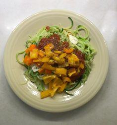 Veggie Pasta: Zuccini Noodles. Tomato Sauce, Peppers, Oregano