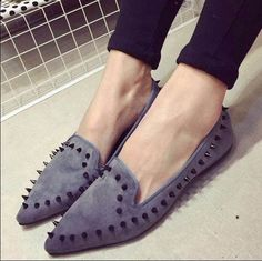 - Modern edgy spiked flats for a playful look - Popular spiked design for any stylish outfit - Made from PU - Available in 3 colors