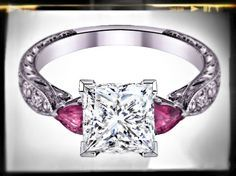 Princess Cut diamond Engagement Ring Pink Sapphire Pear side stones Hand engraved