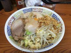 ラーメン二郎 亀戸店 小ラーメン 汁なし 麺少なめ 油、からめ、にんにく ¥690、¥100