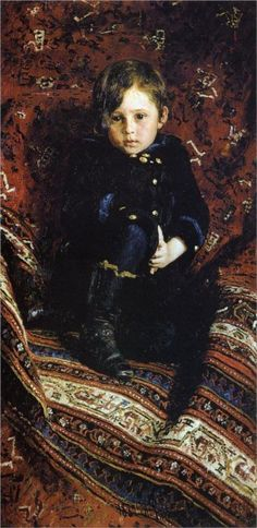 Young Lord Aral Vorkosigan painted by his mother Princess and Countess Olivia Vorbarra-Vorkosigan (Portrait of Yuriy Repin, the Artist's son, 1882  Ilya Repin)