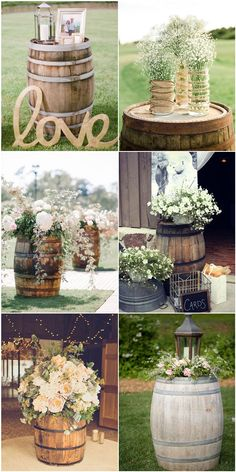 Outdoor country wedding ideas for summer fab country outdoor wedding ideas inspired by wine barrel . outdoor country wedding ideas for summer Wine Barrel Wedding, Rustic Country Wedding Decorations, Wedding Country, Outside Wedding Decorations, Rustic Wedding Centerpieces, Wedding Ideas For Outside, Table Decorations, Wedding Matches, Wedding Colors