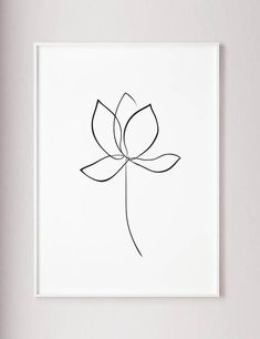 Lotus print Water lily wall art flower line art lotus one