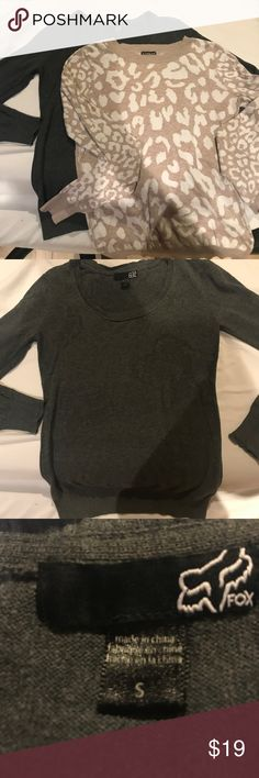 Sweater Selling my fox racing gray cardigan sweater, it's in great condition. Pet free smoke free home! Fox Sweaters