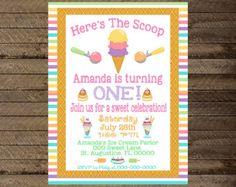 invitan a helado helados cumpleaños, invitación de helados, heladería, helado, helado de primer cumpleaños, 2 º, 3 º, 4 º, 5 º