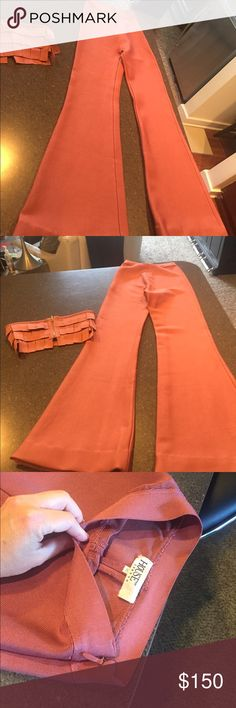 House of CB pants set 2 piece Sexy Bandage Tight fitting.  Worn once.  Its a burnt orangish pink color.  No stains or tears. Cheaper on other sites.  Note:  I ship bare minimum.  I use plastic sealed non see thru bags that Victoria's Secret uses. I tape on your label.  I run several businesses and do this for fun. If my packaging leaves you to leave me less feedback then please do not buy from me.  Feedback is for the clothing not the package it is shipped in.  Please be fair. house of CB…