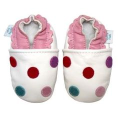 Buy Dotty Fish Soft Leather Baby Shoe - White Multicoloured Spotty from our All Girl's Shoes range - Tesco
