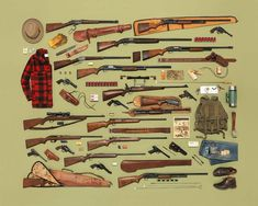 American photographer Jim Golden realizes beautiful images by combining real collections of objects according to different themes. These images spread dozens of cameras, musical instruments or firearms. Hunting Gear, Hunting Dogs, Hunting Stuff, Hunting Rifles, Deer Hunting, Hunting Guide, Hunting Quotes, Hunting Knives, Hunting Equipment