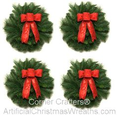 Mini-Traditional Christmas Wreaths - 2013 - Our four (4) Mini-Traditional Christmas Wreaths are beautiful multi-pine wreaths accented with lovely red bows. They will add a touch of old fashioned Holiday charm!  Perfect for windows, bedroom doors, or as a lovely centerpiece using your own decorative hurricane candle. #ArtificialChristmasWreaths #ChristmasWreaths #Wreaths #smallwreaths #accentwreaths