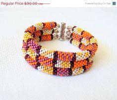 CHRISTMAS SALE SALE - Beadwork - 3 Strand Bead Crochet Rope Bracelet in orange, red and beige - beaded bracelet - seed beads jewelry