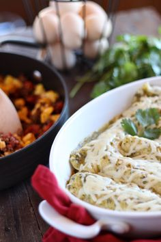 easy chorizo egg enchilada bake filled with spicy meat, scrambled eggs ...