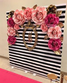 Kate spade inspired photo booth large medium and small roses in colors hot pink pink soft pink and gold 40th Birthday Parties, 16th Birthday, Birthday Ideas, Cake Birthday, Birthday Party Decorations, Wedding Decorations, Pink And Gold Decorations, Wedding Ideas, Trendy Wedding