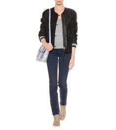 7 FOR ALL MANKIND Rozie High-rise Slim jeans, RAG & BONE Range bomber jacket, VELVET Rebekkah linen top, RAG & BONE Kent high-top leather sneakers