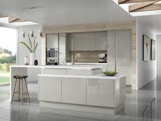 1couleur-cuisine-armoires-façade-bois-clair-îlot-gris-clair couleur pour cuisine