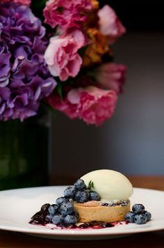 Blueberry Almond Cream Tart, Lemon Thyme Ice Cream, Fresh Honeyed Blueberries, Port-poached Blueberry Compote, and Sea Salt by Pastry Chef Jenny McCoy of Craft - New York, NY