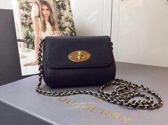 2015 Spring Summer Mulberry lily shoulder bag in BLACK soft grained leather
