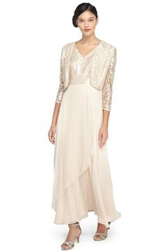 Tahari Sequin Lace & Chiffon Gown with Jacket available at #Nordstrom