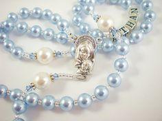 Catholic Baptism Rosary  with Baby Blue Swarovski Pearls and Swarovski Crystals for a Baby Boy - Personalized. $38.00, via Etsy.