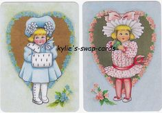 J8 Little Girls Swap Playing Cards Mint Condition IN Heart Background Pink Blue | eBay