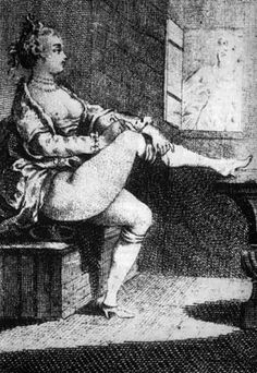 F45-Engraving (2nd half of 18thC) showing woman on a toilet (man peeping through window!). NO underpants, just stockings that were tied just under (sometimes over) the knee.