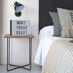 Dorm Room Pictures, Wood And Metal Table, Make Today Great, Room Goals, My Room, Ideas Para, Nightstand, Sweet Home, New Homes