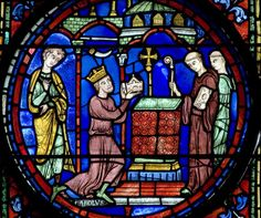 """Charlemagne presenting his relics to the Palatine Chapel at Aachen"", Panel 7 from The Legends of Charlemagne window in Chartres Cathedral, c.1225 (source)."