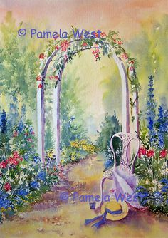 Landscape watercolour paintings original art by Pamela West watercolor artist Watercolor Mixing, Watercolor Landscape, Landscape Paintings, Watercolor Paintings, Watercolours, Garden Archway, Flower Art, Flower Fence, Art Flowers