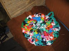 Finger Crochet - Treble stitch - plastic bags