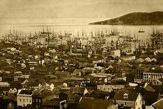 Description English: San Francisco harbor (Yerba Buena Cove), 1850 or 1851, with Yerba Buena Island in the background.