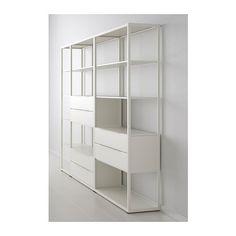 FJÄLKINGE Open kast met lades, wit wit 294x193 cm