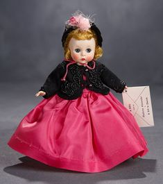 Lot: Very Rare Alexander-Kins as Little Godey Lady with Original Box, 1955 Forever My Girl, Vintage Madame Alexander Dolls, Blonde Curly Hair, Beaded Jacket, Pink Gowns, Old Dolls, Dark Blonde, Coral Pink, Vintage Dolls