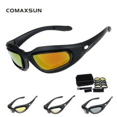 COMAXSUN Army Goggles Cycling Glasses Military Sunglasses 4 Lens Men's Desert War Game Tactical Glasses Sporting C5 STS102 #Affiliate